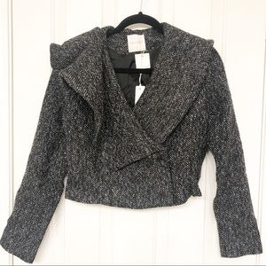 Line & Dot Cropped Tweed Asymmetrical Jacket Small